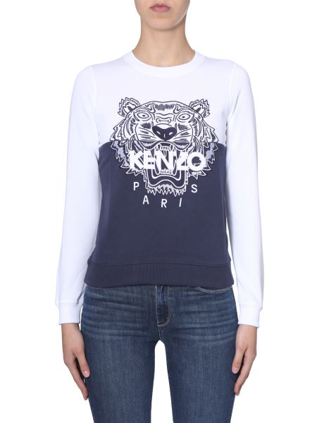 Kenzo - Tiger Embroidered Color Block Cotton Sweatshirt