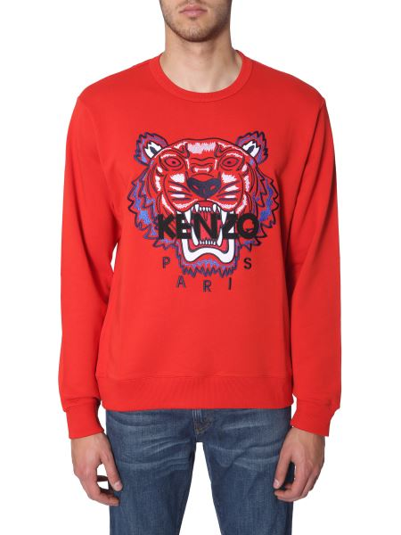 Kenzo - Tiger Embroidered Round Neck Cotton Sweatshirt