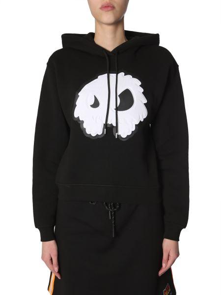 Mcq Alexander Mcqueen - Cotton Hooded Sweatshirt With Monster Print