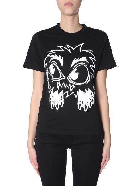 Mcq Alexander Mcqueen - T-shirt Girocollo In Cotone Con Stampa Monster