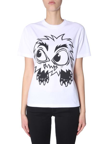 Mcq Alexander Mcqueen - Round Neck Cotton T-shirt With Monster Print