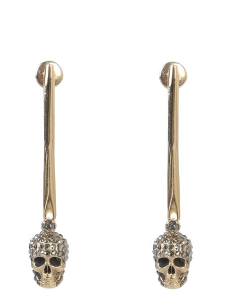 Alexander Mcqueen - Skull Earrings In Brass With Stones