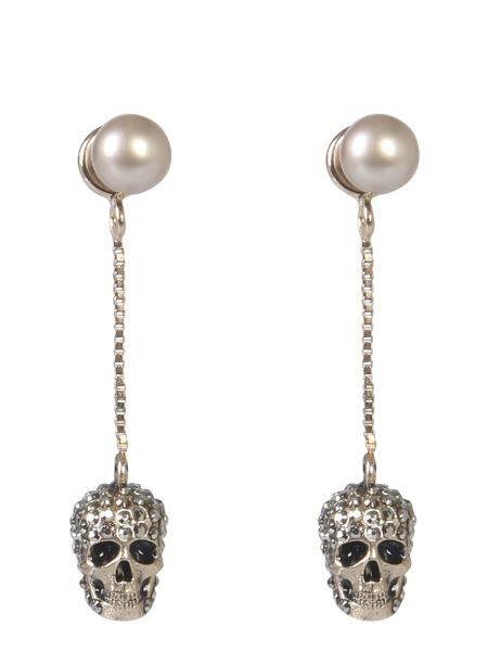 Alexander Mcqueen - Skull Earrings With Stones And Pearl