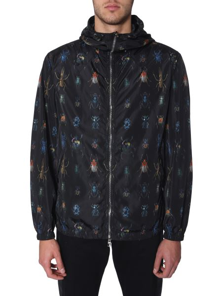 Alexander Mcqueen - Wind Jacket With Nylon Hood With Insect Print