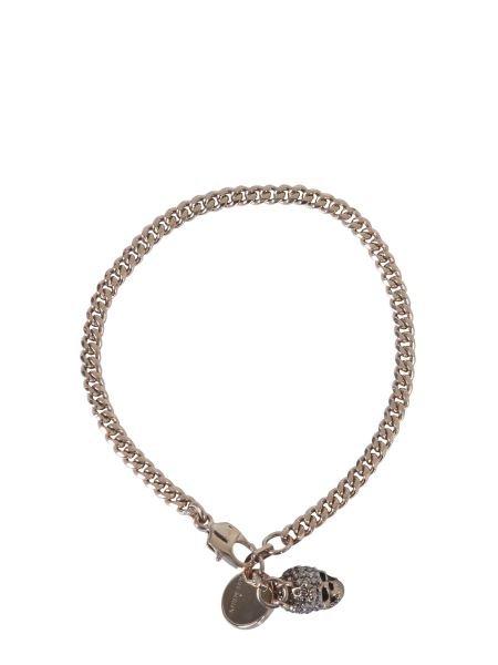 Alexander Mcqueen - Skull Double Chain Brass And Crystal Bracelet