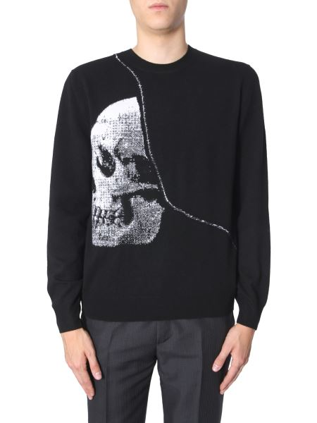 Alexander Mcqueen - Crew Neck Wool Sweater With Skull Inlay