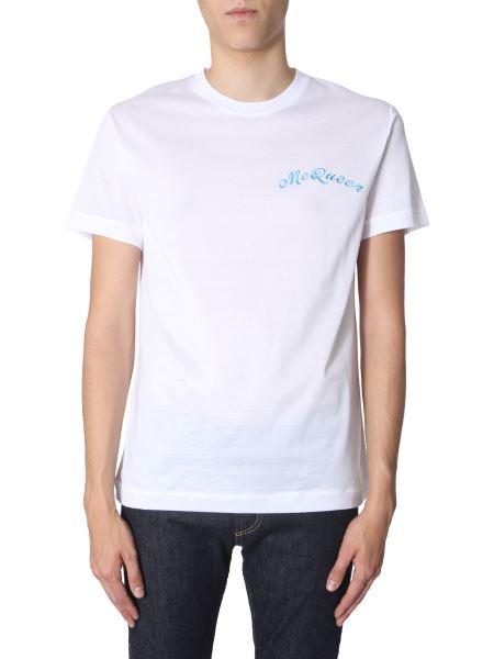 Alexander Mcqueen - T-shirt Con Logo Ricamato