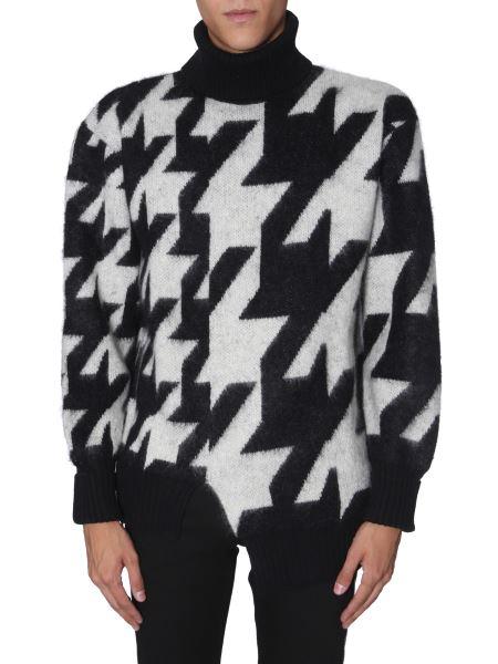 Alexander Mcqueen - Oversize Fit High Neck Collar Shirt With Pied De Poule Print