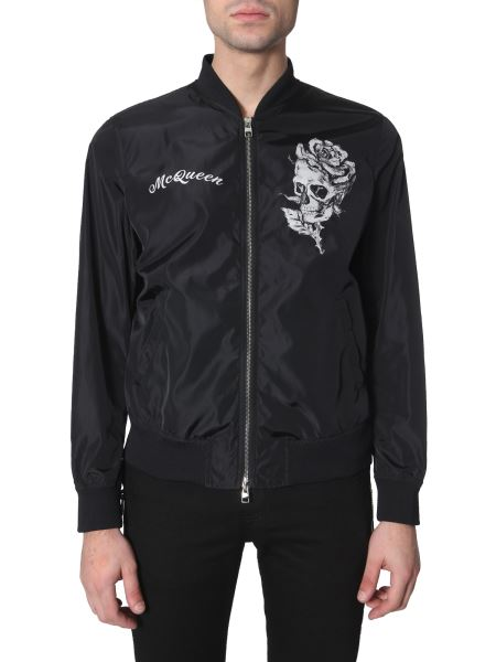 Alexander Mcqueen - Skull And Rose Printed Light Nylon Bomber Jacket