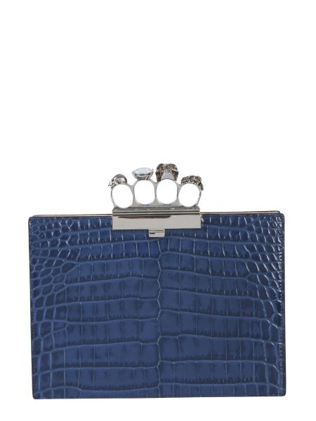 Alexander Mcqueen - Pochette In Pelle Effetto Cocco Jewelled Four-ring