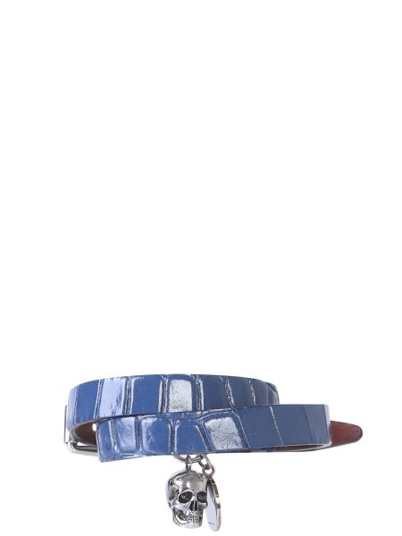 Alexander Mcqueen - Coco Print Leather Bracelet With Double Turn