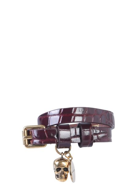 Alexander Mcqueen - Coco Print Leather Bracelet With Double Turn Lock