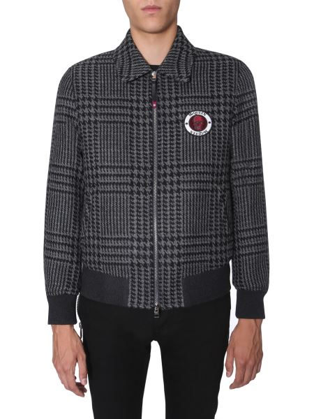 Alexander Mcqueen - Pied De Poule Wool Bomber With Logo Patch