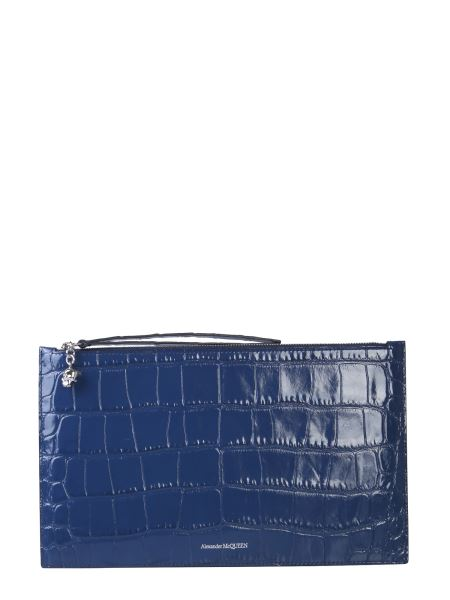 Alexander Mcqueen - Pouch In Pelle Stampa Cocco Con Zip