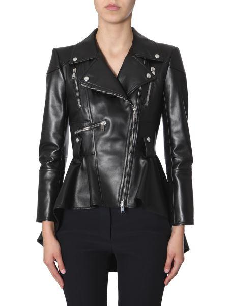 Alexander Mcqueen - Leather Flared Biker Jacket