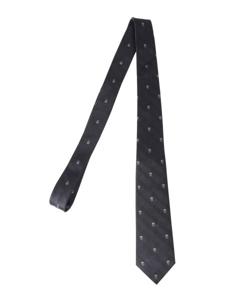 Alexander Mcqueen - Prince Of Wales Silk Tie With Skull