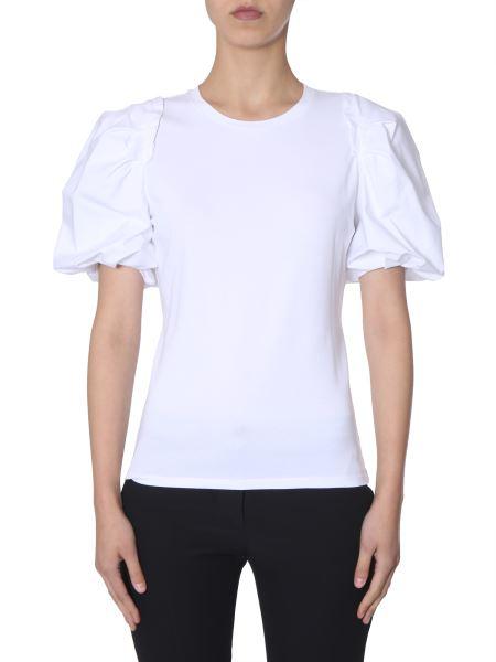 Alexander Mcqueen - T-shirt In Jersey Di Cotone Con Maniche A Sbuffo