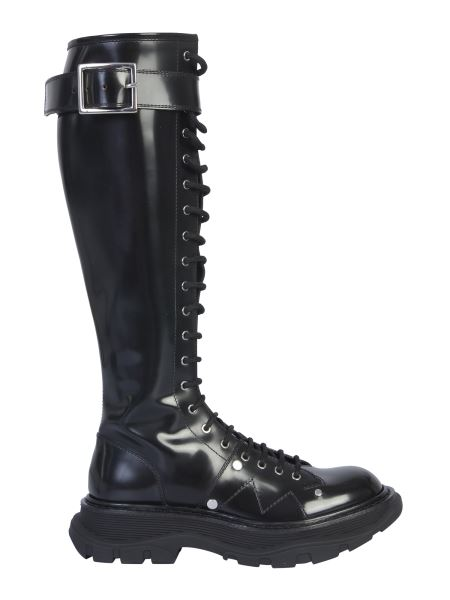 Alexander Mcqueen - Leather Boot With Laces And Tread Sole