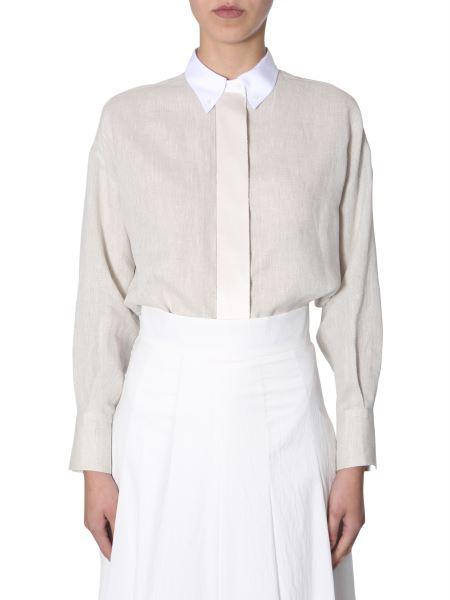 Brunello Cucinelli - Button Down Linen Shirt With Silk Insert