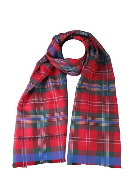 Alexander Mcqueen - Mixed Silk Scarf With Tartan Print