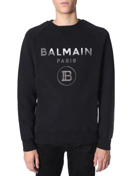Balmain - Crew Neck Cotton Sweater With Mirrored Logo