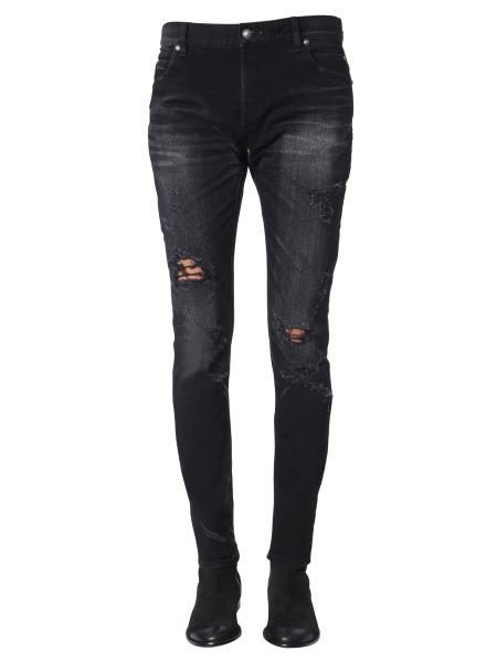 "Balmain - ""super Destroy"" Cotton Denim Jeans"