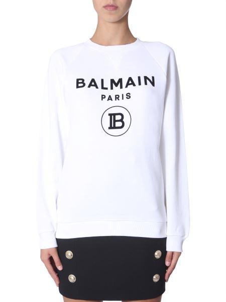 Balmain - Felpa Girocollo In Cotone Con Logo Floccato