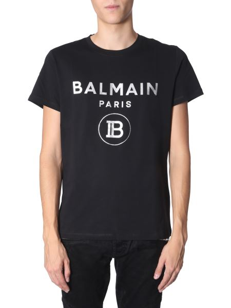 Balmain - Round Neck Cotton T-shirt With Logo