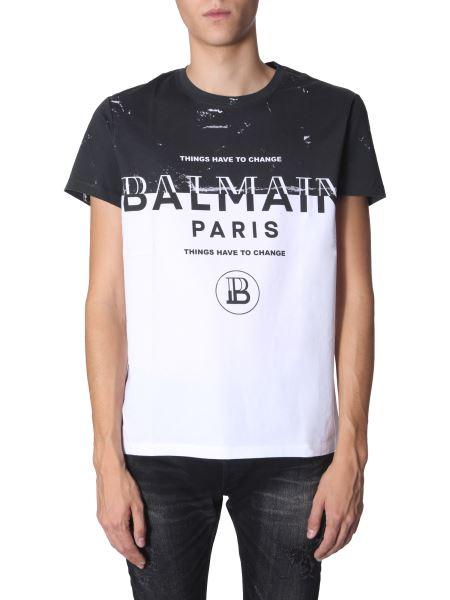 Balmain - Two-color Round Neck Cotton T-shirt With Logo