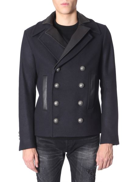 Balmain - Double Breasted Wool Caban With Leather Inserts
