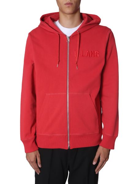 Helmut Lang - Hooded Cotton Sweatshirt With Zip And Logo