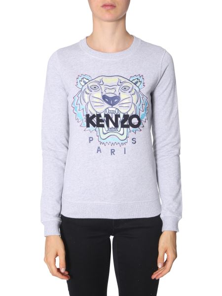 Kenzo - Round Neck Cotton Sweatshirt With Embroidered Tiger