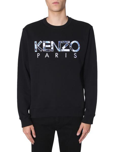 Kenzo - Round Neck Cotton Sweatshirt With Patchwork Logo