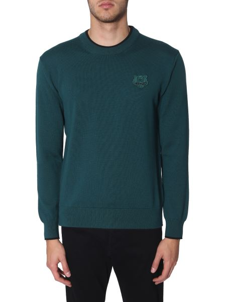 Kenzo - Crew Neck Wool Sweater With Tiger Patch