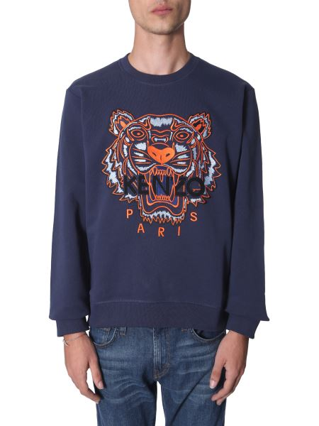 Kenzo - Crew Neck Cotton Sweatshirt With Embroidered Tiger