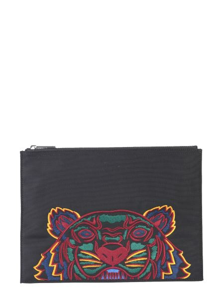 Kenzo - Large Pouch With Embroidered Tiger
