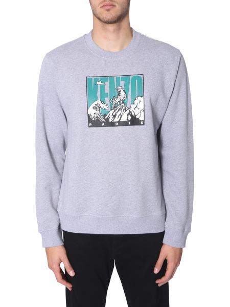 Kenzo - Crew Neck Cotton Sweatshirt With Tiger Mountain Print