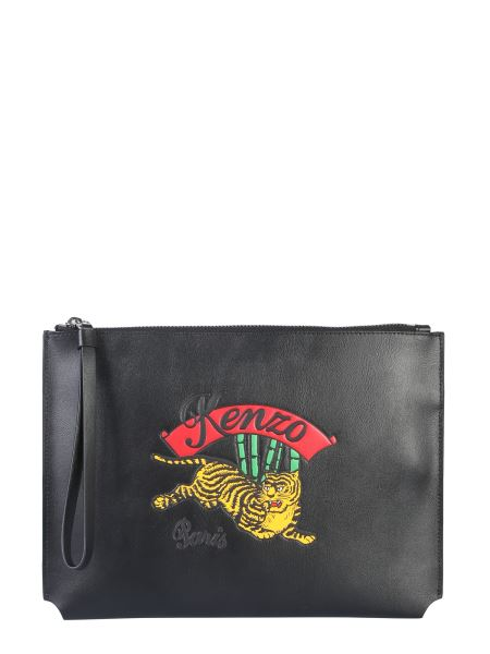 Kenzo - Leather Clutch A4 With Embroidered Tiger