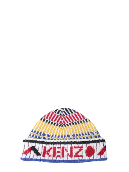Kenzo - Wool Hat With Logo And Ethnic Print