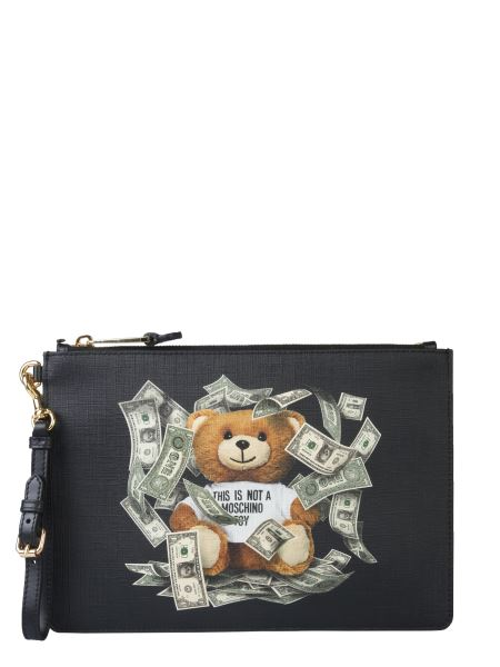 Moschino - Dollar Printed Teddy Bear Nappa Clutch With Zip