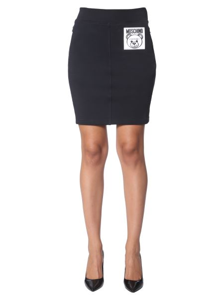 Moschino - Cotton Skirt With Patch Logo