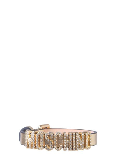 Moschino - Leather Bracelet With Crystal Logo