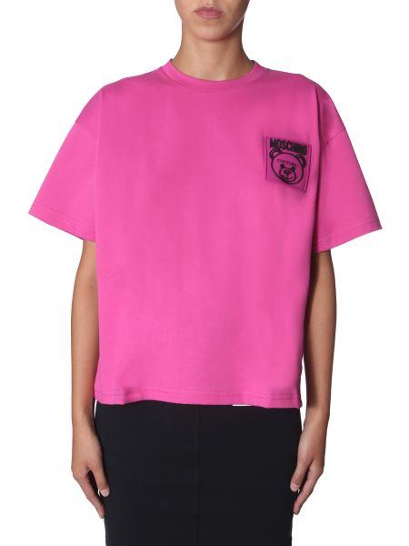 """Moschino - """"teddy Label"""" Cotton Round Neck T-shirt"""