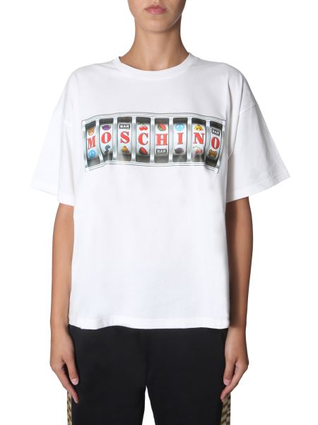 "Moschino - ""slot Machine"" Cotton Jersey Round Neck T-shirt"