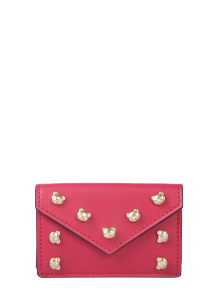 Moschino - Leather Wallet With Teddy Bear Studs