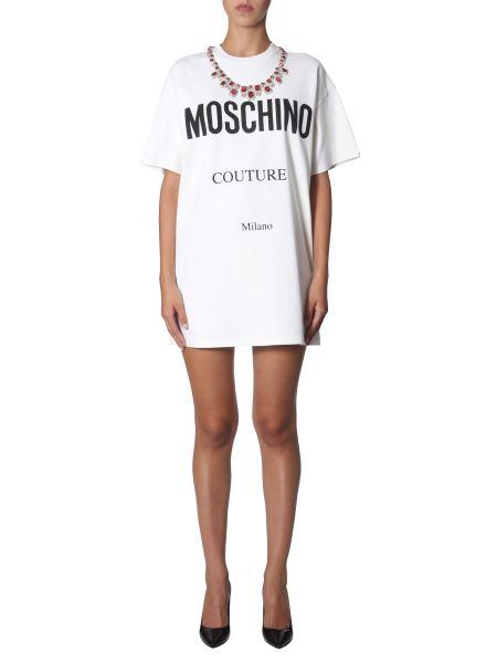 Moschino - Round Neck Cotton Dress With Jewel