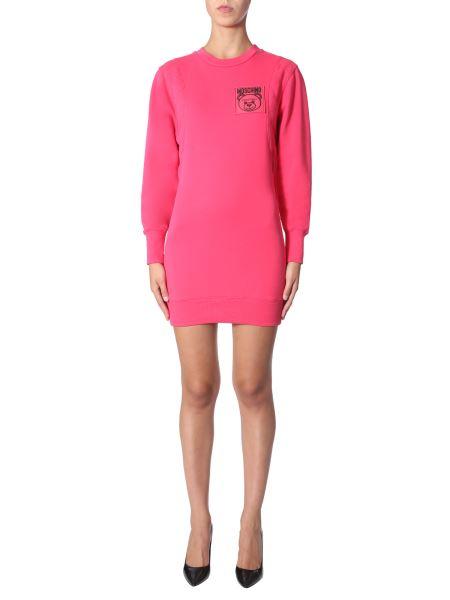 Moschino - Cotton Sweatshirt Dress With Teddy Label