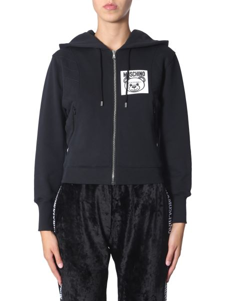 Moschino - Hooded Cotton Sweatshirt With Zip And Teddy Label
