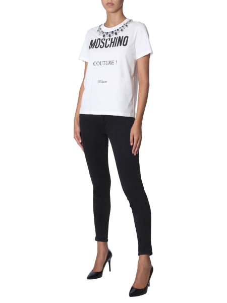 Moschino - Round Neck Cotton T-shirt With Jewel