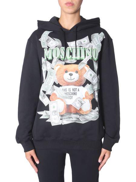 "Moschino - ""dollar Teddy Bear"" Cotton Hooded Sweatshirt"